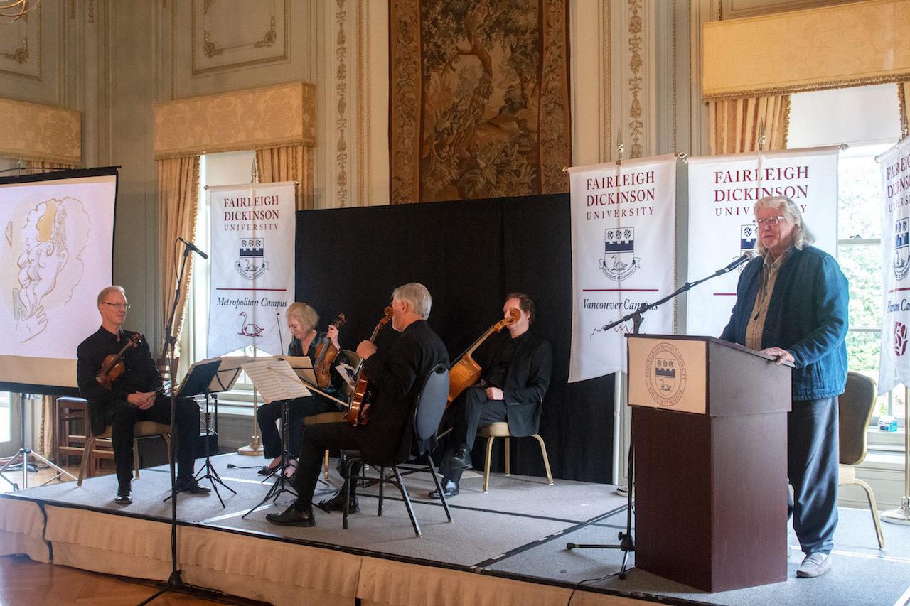 The American String Quartet and Martin Charnin. (Photo by Brandon Siavichay)