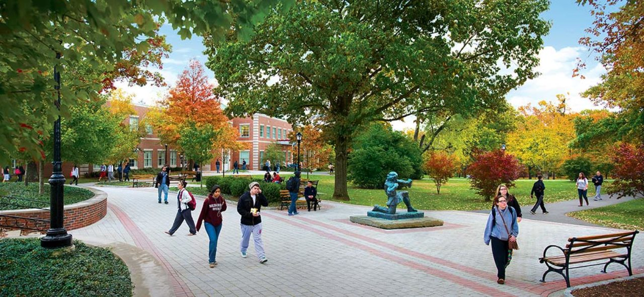 students walking around florham's campus