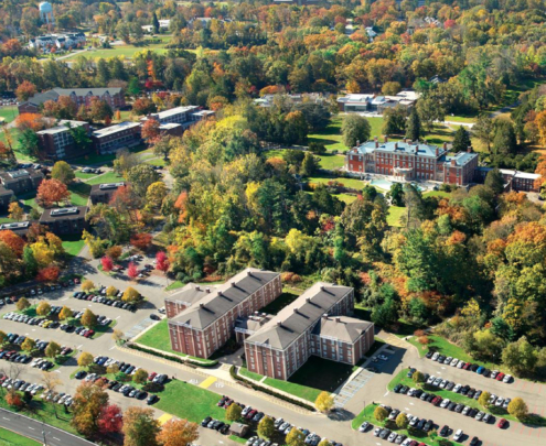 overhead view of Florham Campus with trees