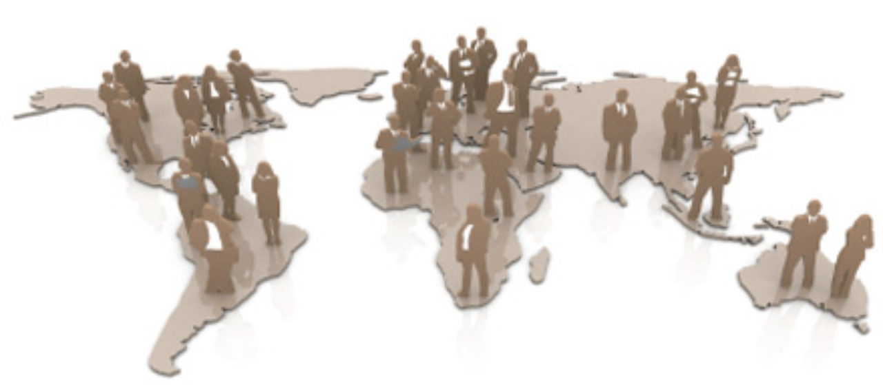 a map of the world with people standing on it