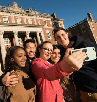 A group of FDU students living on Florham Campus take a selfie