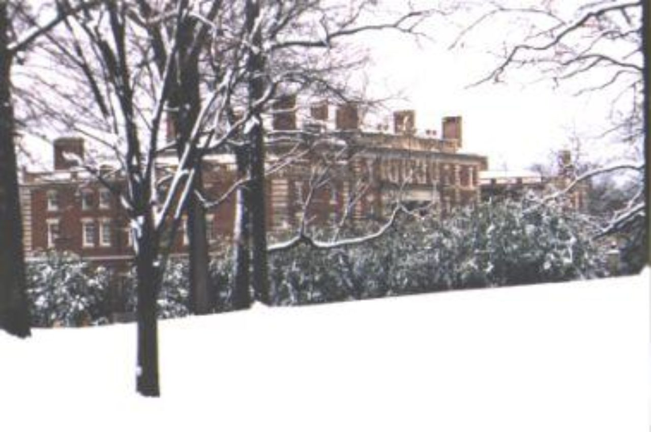 the mansion building in the snow
