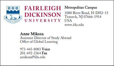 fdu business card