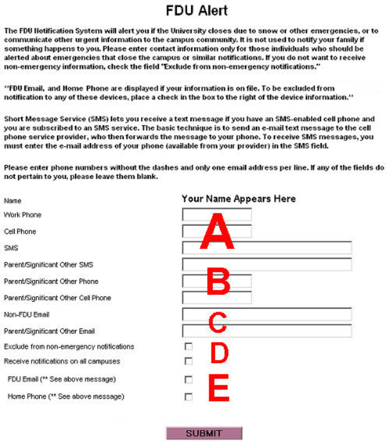 FDU notification system contact form