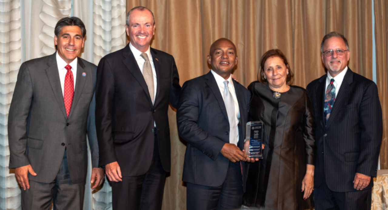 From left to right: FDU President Christopher Capuano; New Jersey Governor Phil Murphy; alumnus Lester Owens; Jayne Silberman; and Andrew Rosman, dean of Silberman College.