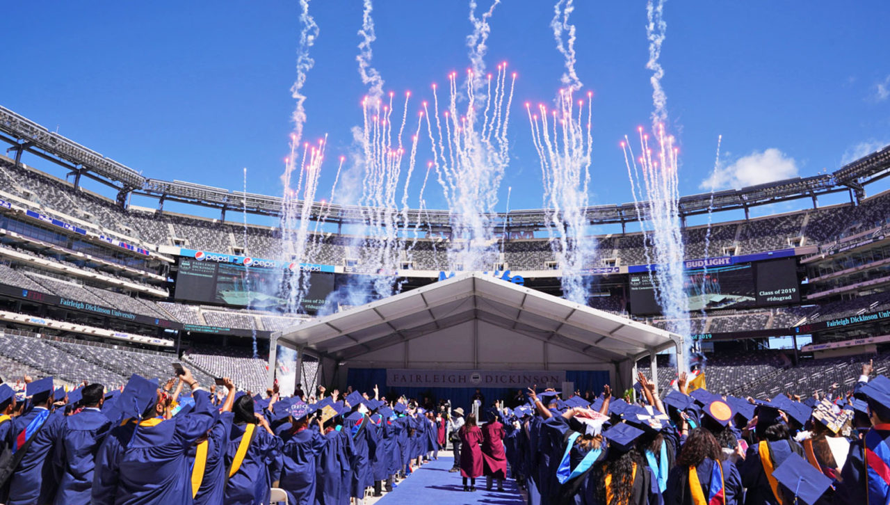 graduation ceremony fireworks