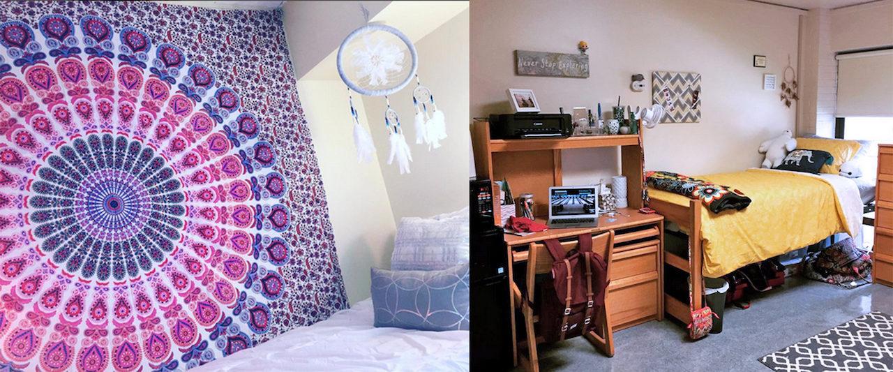 Florham and Metro campus dorm rooms. (Photos by Lauren Santangelo and Morgan Walsh).