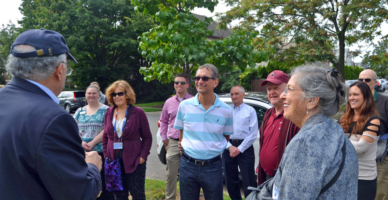 Adjunct professor Eli Amdur leads a tour at FDU's former Rutherford Campus.
