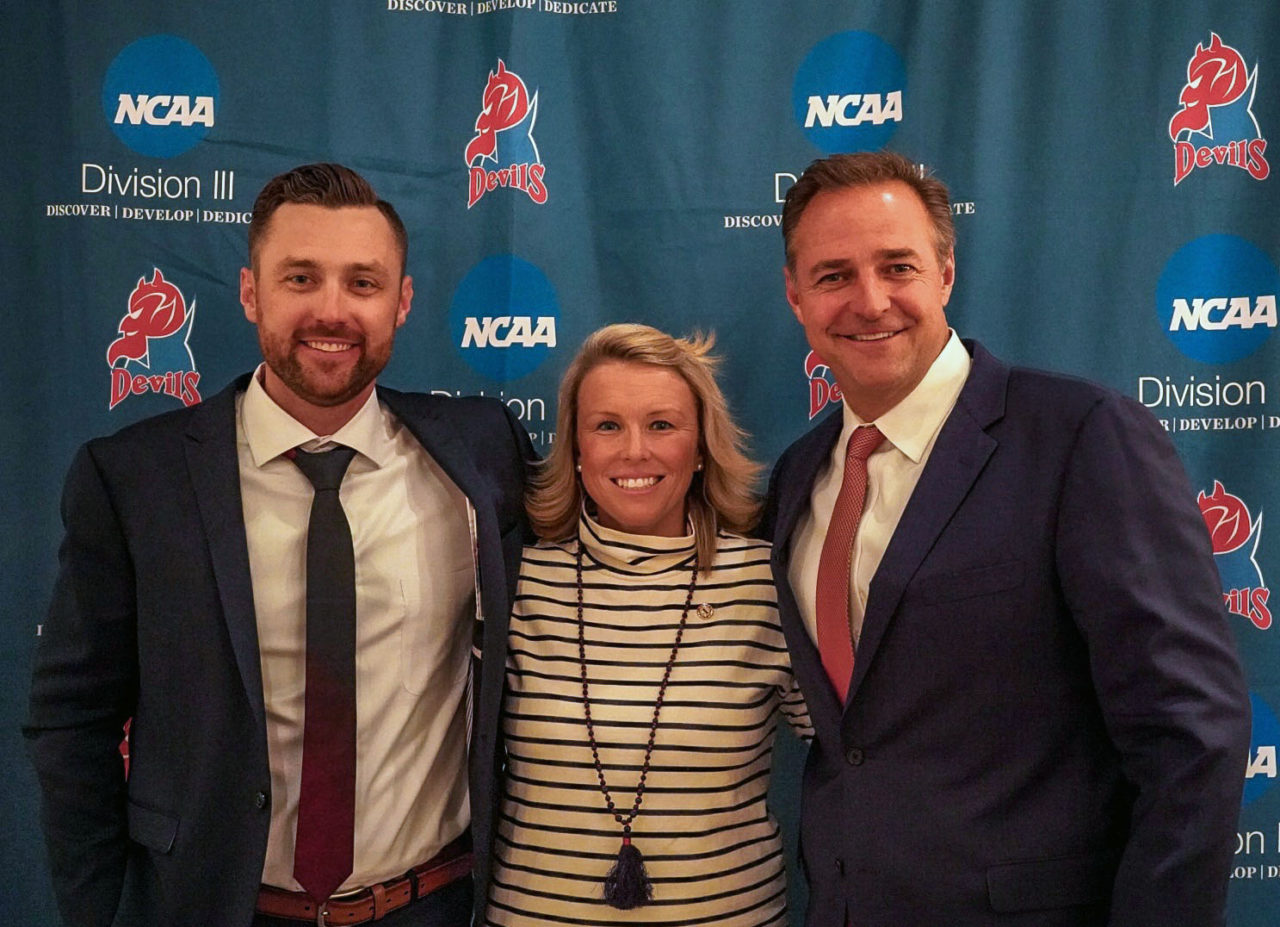 Baseball head coach Jamie Quinn, Director of Athletics Jenn Noon and MLB Network studio analyst Al Leiter