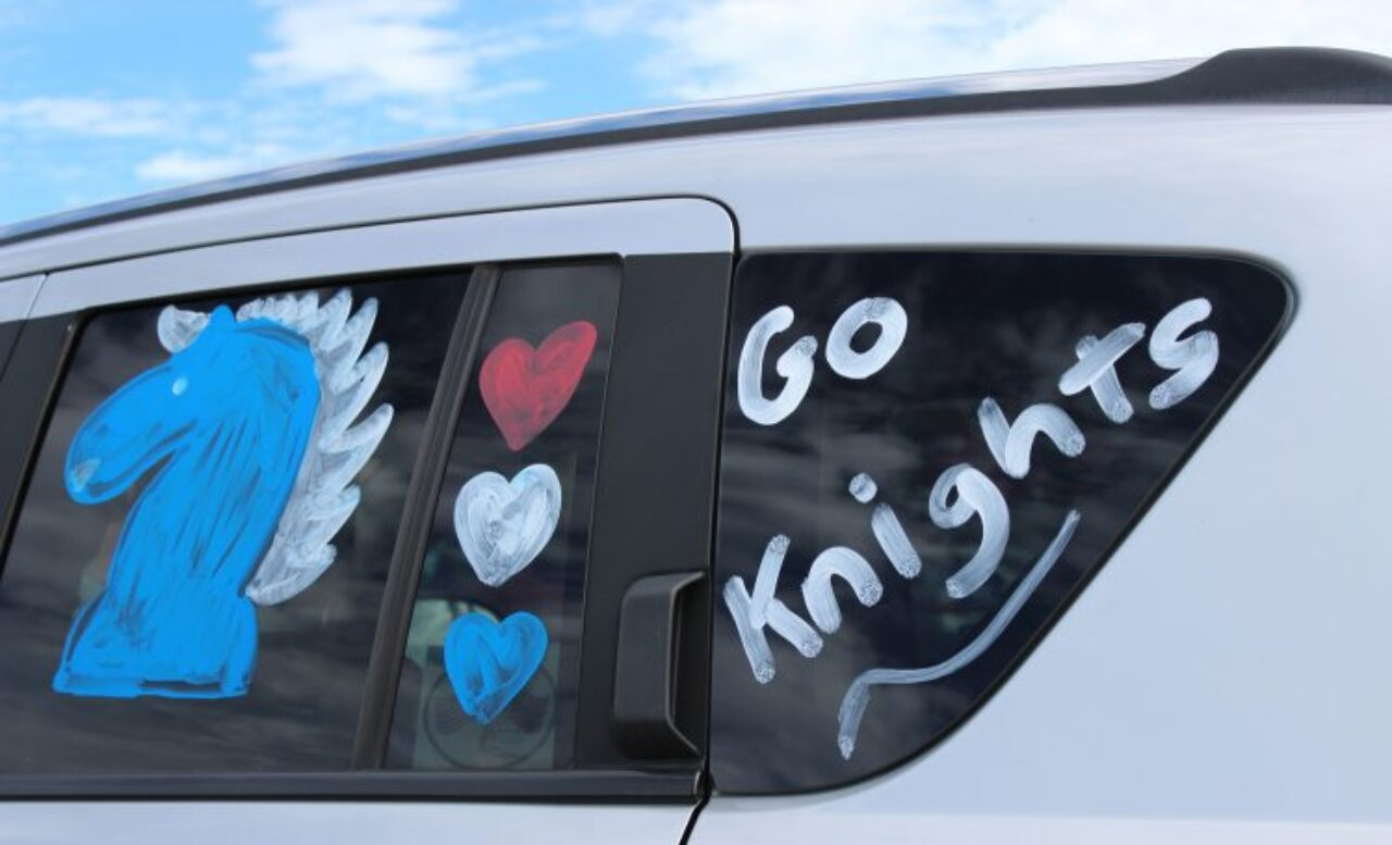 """car painted with """"Go Knights"""""""