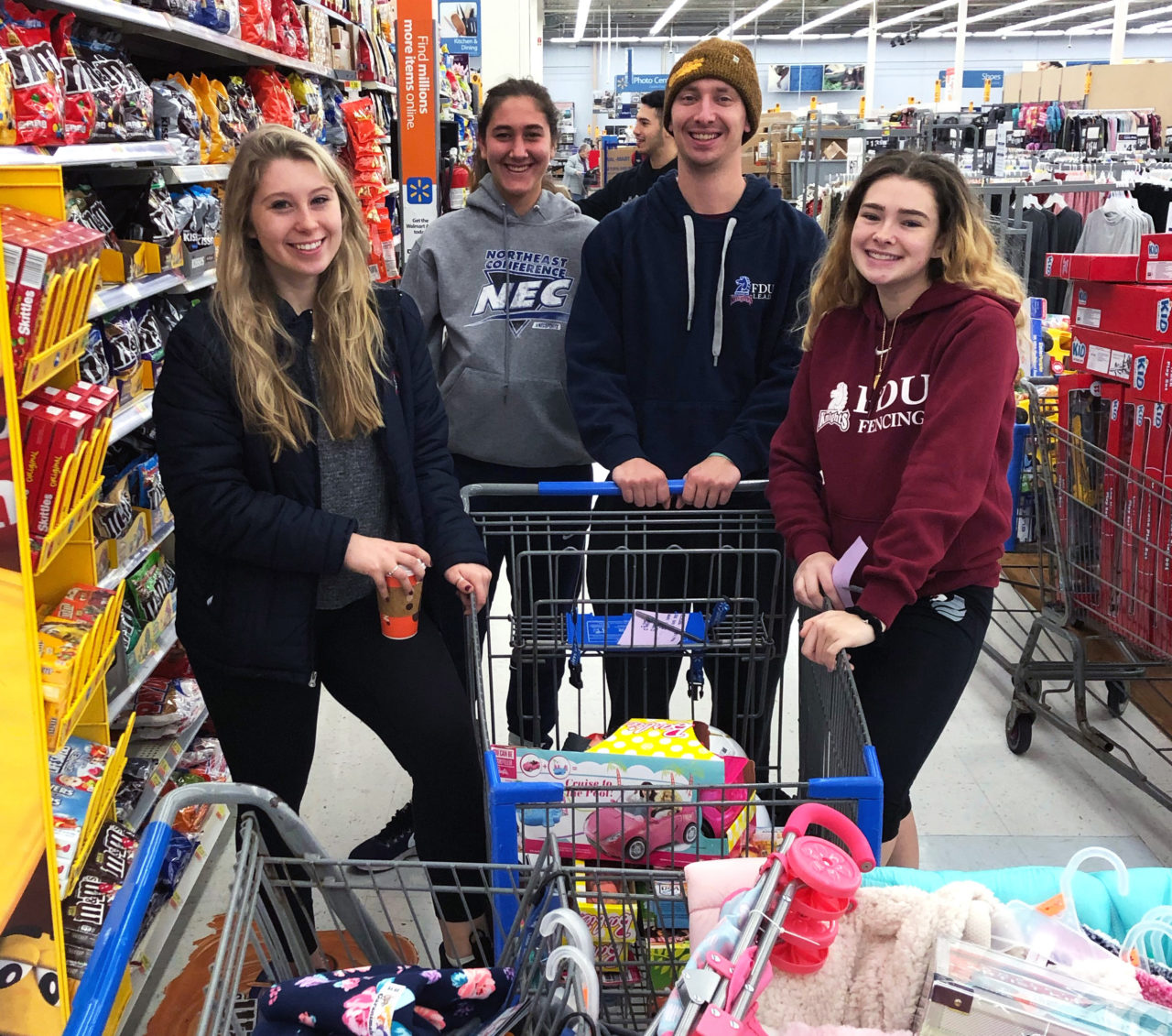 group of students in a grocery store