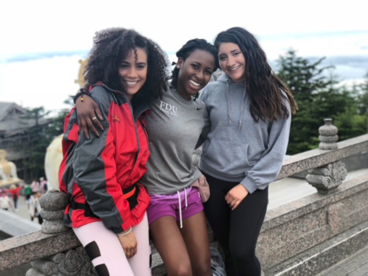 During her summer abroad, Jannice Santiago became good friends with two students from FDU's Metropolitan Campus, Natalia Toby and Joanne Gallegos. The trio ventured to see the Golden Summit on Mount Emei.