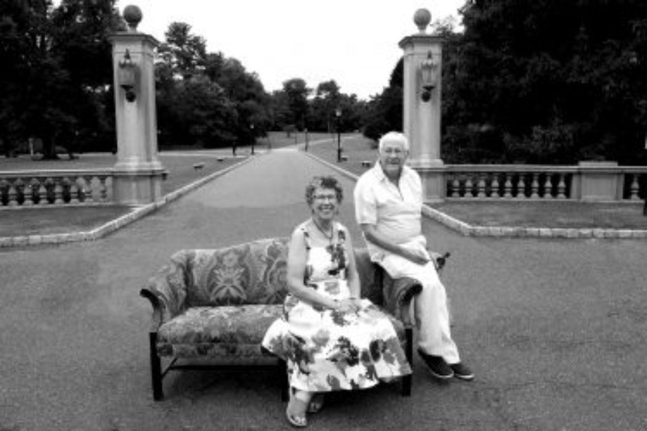 Ullman and Hoffman pose for wedding portrait