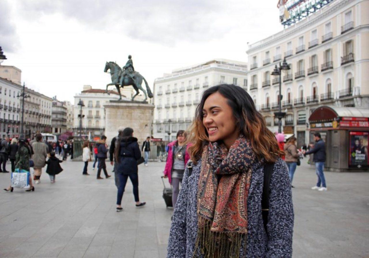 Sophomore Ediza Koch takes in the scene at Plaza del Sol in Madrid, Spain.