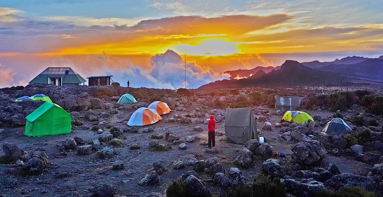 Brilliant, bright, big sky over Shira Camp on Mount Kilimanjaro.