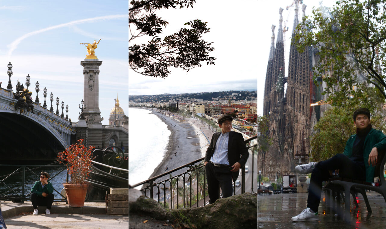 Truong in Paris, France (left), Nice, France (middle) and Barcelona, Spain (right).