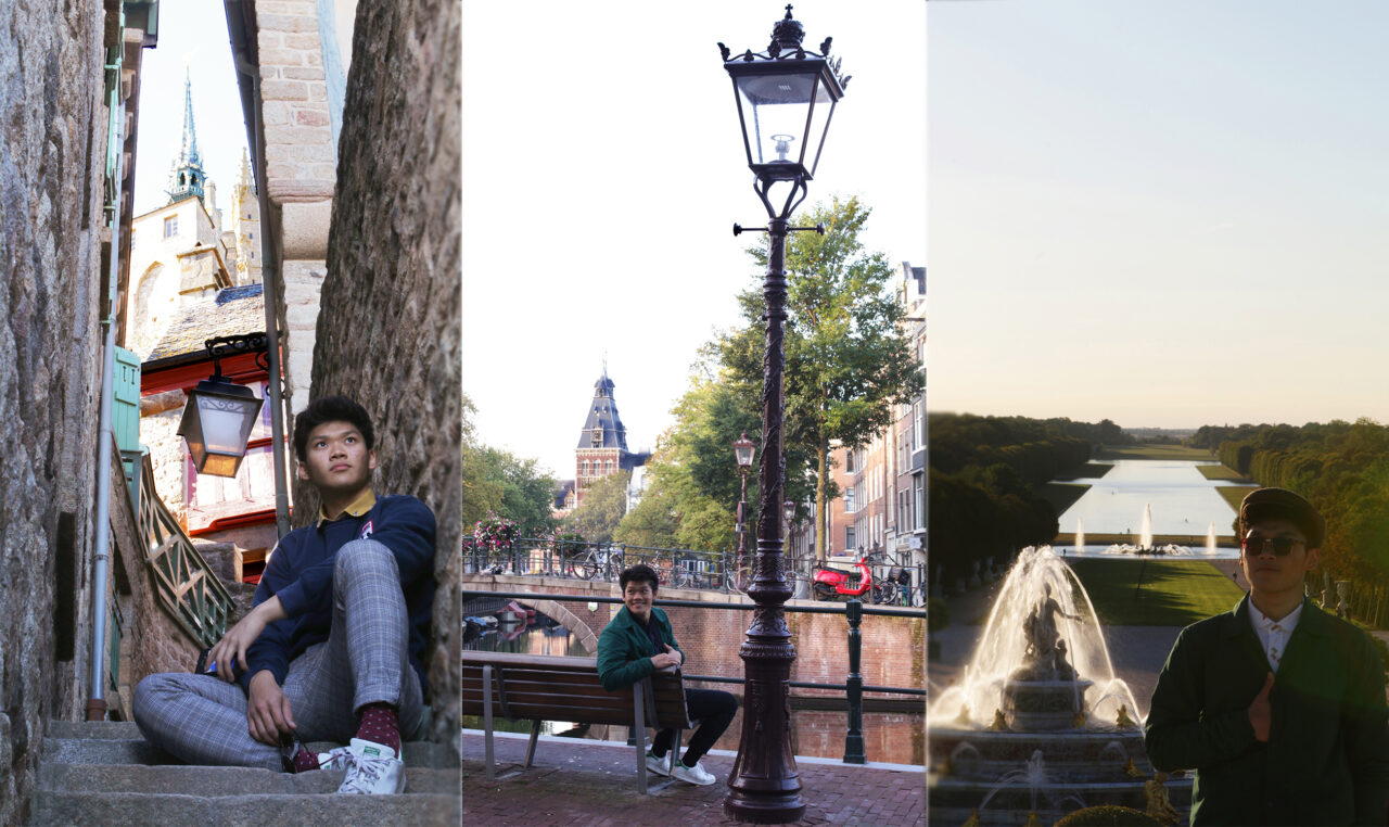 Truong in Mont Saint Michel, France (left), Amsterdam, Netherlands (middle) and at the Gardens of Versailles in France (right).