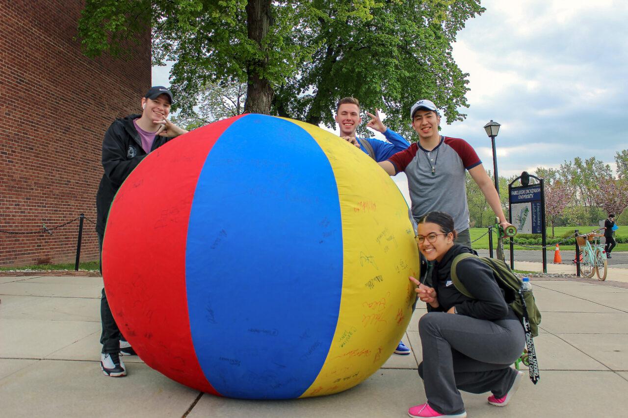 Zeta Beta Tau Fraternity with giant ball