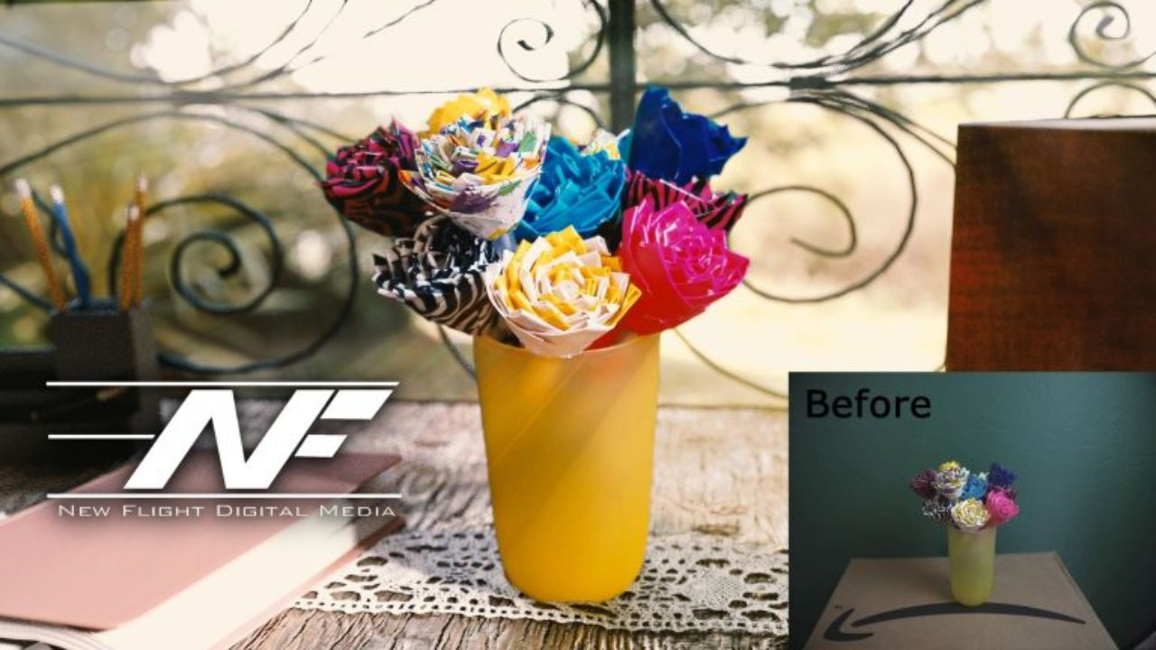 before and after edited picture of flowers