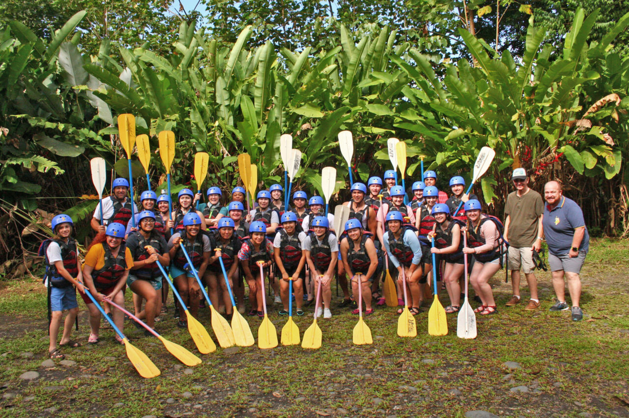 Global Scholars get ready to go kayaking on a man-made lake during a trip to Costa Rica