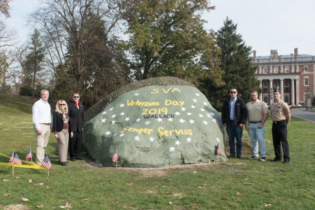 Student veterans painted and decorated Reuter's rock for the celebration.