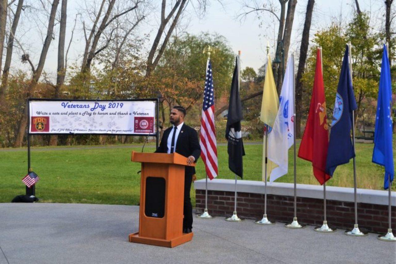SVA president Christopher Putnam speaks at the Metropolitan Campus Veterans Day ceremony