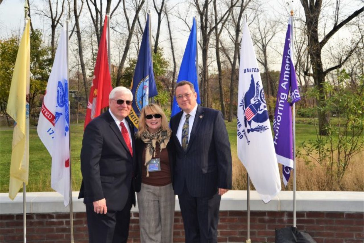 From left: Joel Trella (adjunct professor and veteran), Martha Papson Garcia (director of veterans services for outreach), and Steven Nelson (Metropolitan campus executive and veteran).