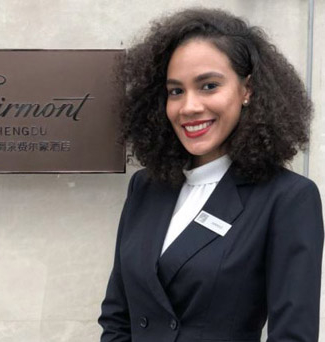 Junior Jannice Santiago is studying hospitality at FDU and interned this summer in the Cube restaurant at the Fairmont Chengdu.