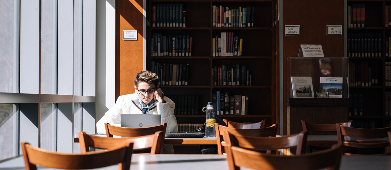 A student studies in the library.