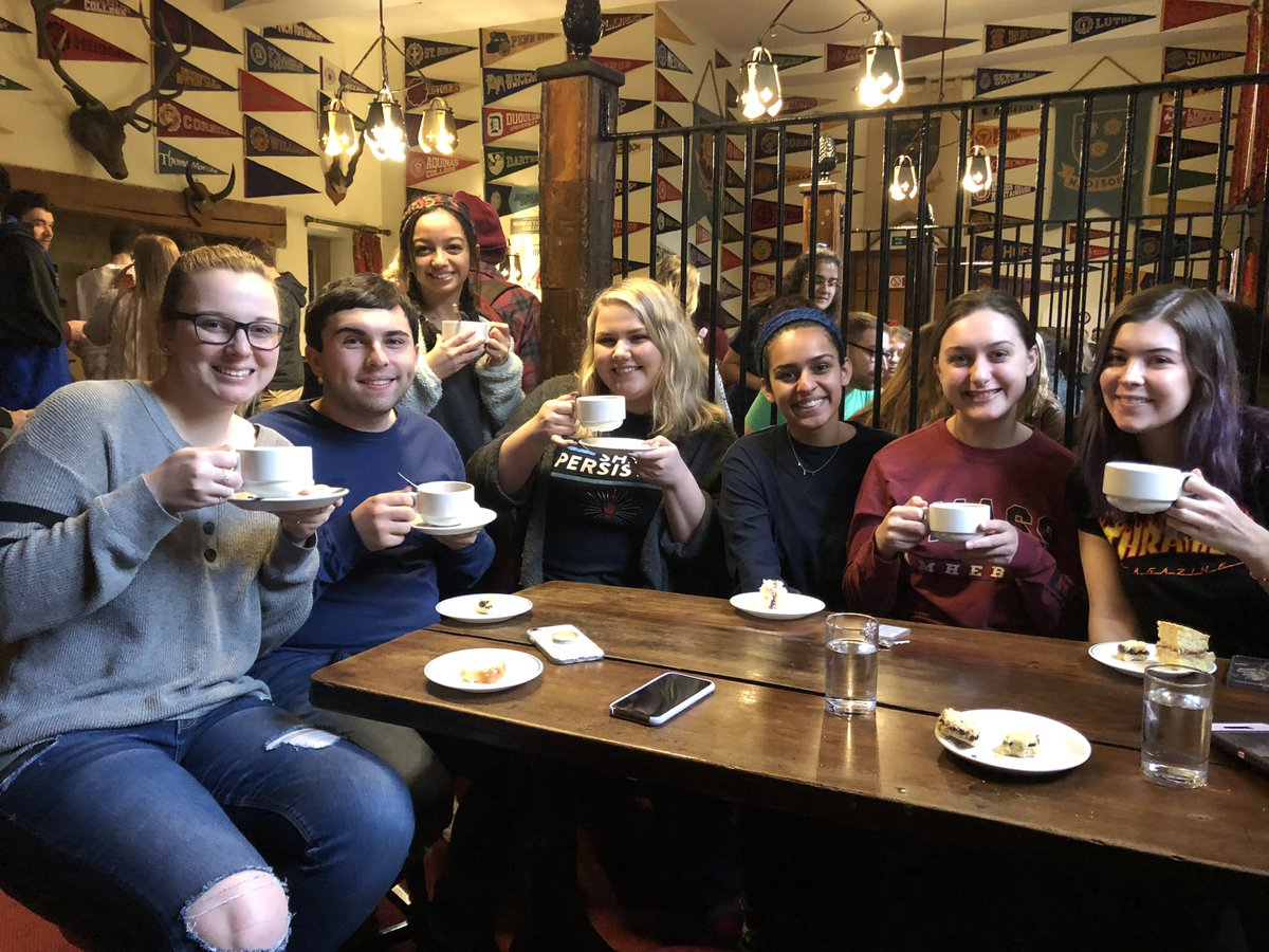 Students drinking tea in the Buttery