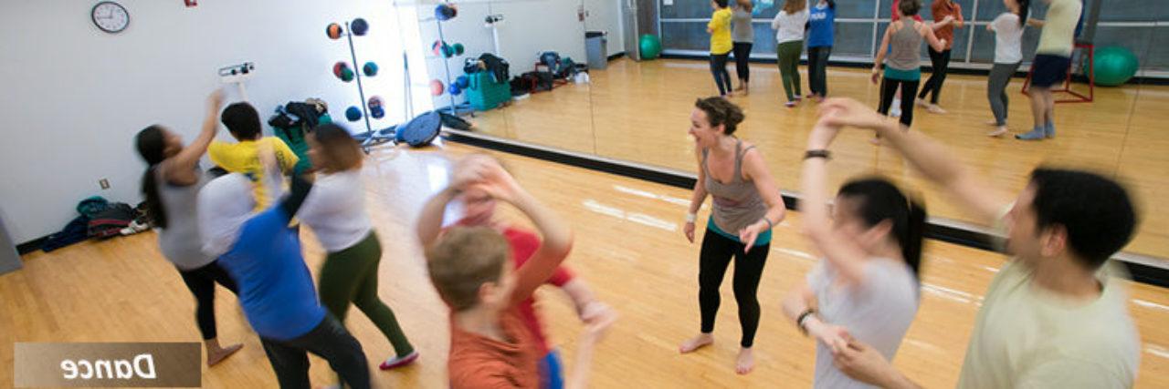 Dancers in the dance studio.