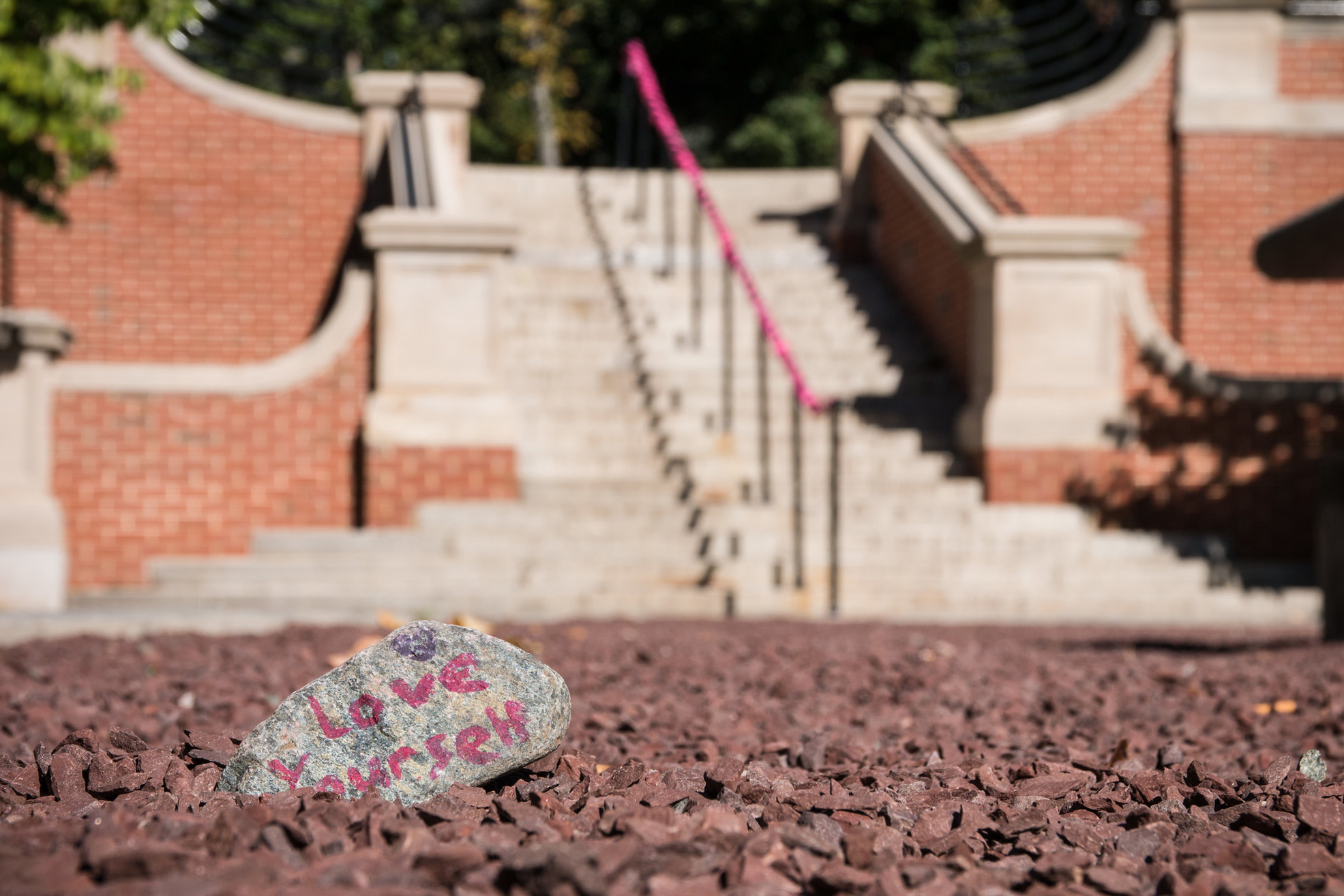 "In the foreground, there are words reading ""love yourself"" written on a gray rock. The rock is resting on gravel and outside stairs snake up behind this area on the Florham Campus."