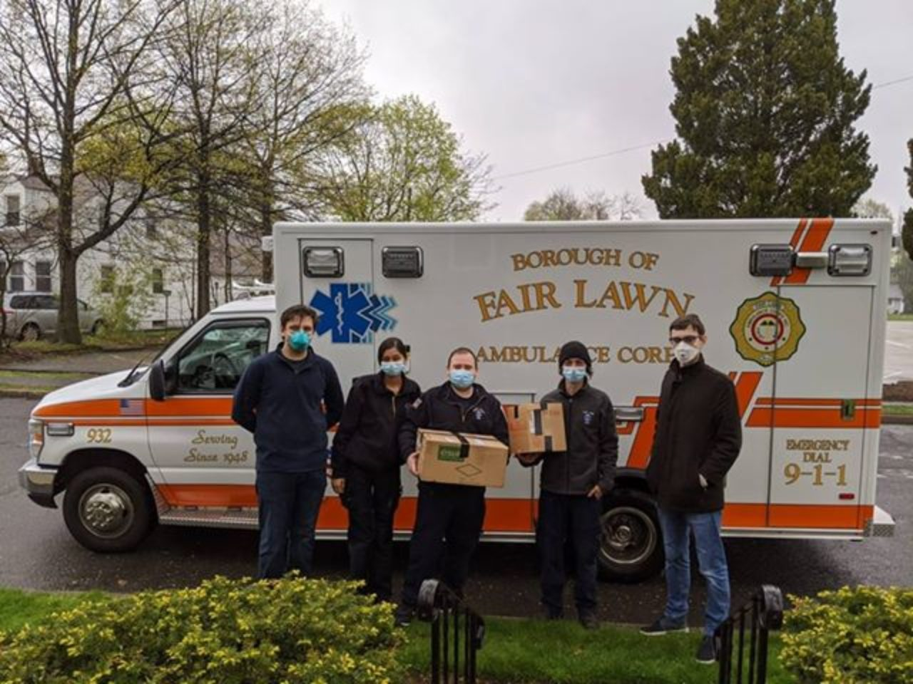 Bernie Moerdler donates face shields to Fair Lawn first responders.