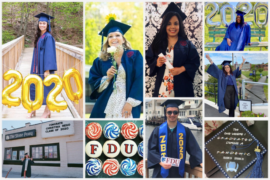 A collage of graduates celebrating in their caps and gowns.