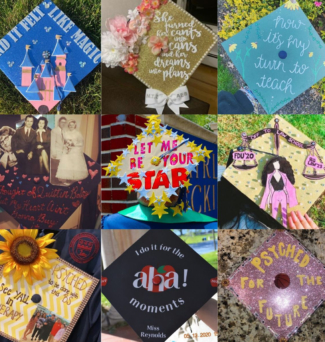 A collage of decorated and colorful graduation caps.