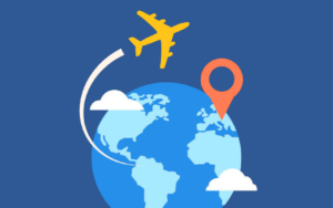 An illustration shows a globe and plane, with a generic destination highlighted, to signal world travel.
