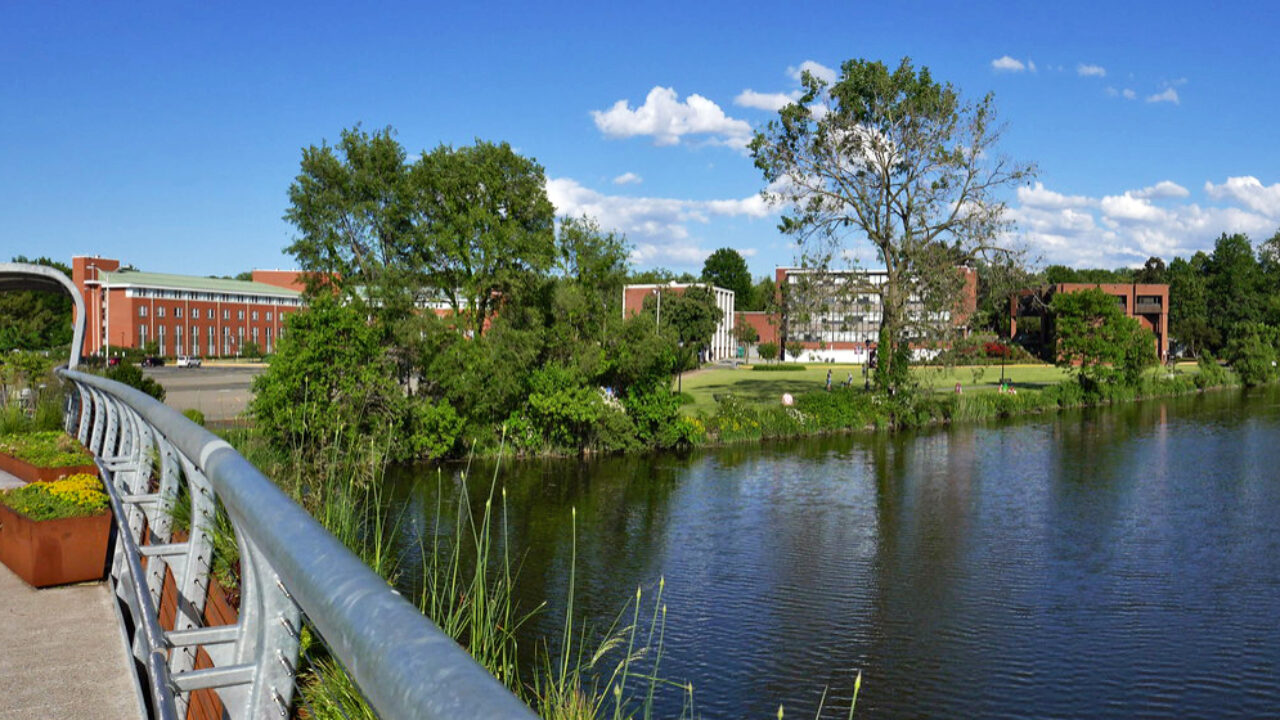 A view of the Teaneck side of the Metropolitan Campus from the new footbridge.