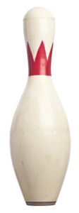 White and red bowling pin