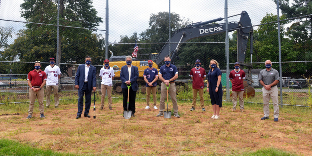 Members of the FDU Devils baseball team join University President Capuano, VP for Facilities & Auxiliary Services Dick Frick, head baseball coach Jamie Quinn, Director of Athletics Jenn Noon at the Naimoli Field groundbreaking at FDU's Florham Campus.