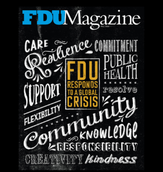 Illustrated cover for FDU Magazine, featuring various words related to COVID-19.