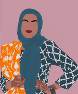 A self-portrait illustration Maryam Jawad created of herself.