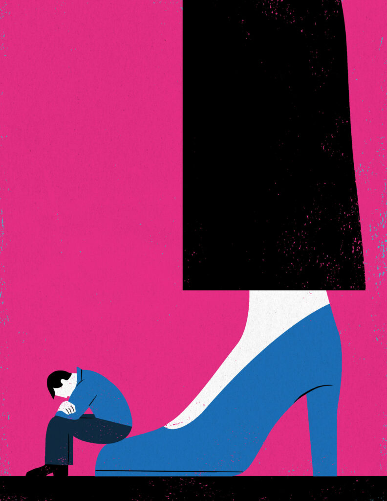 An illustration of a man sitting on tip of a woman's high heel shoe.