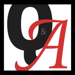 A typographical illustration of a bold black Q and a red A, representing the words question and answer.