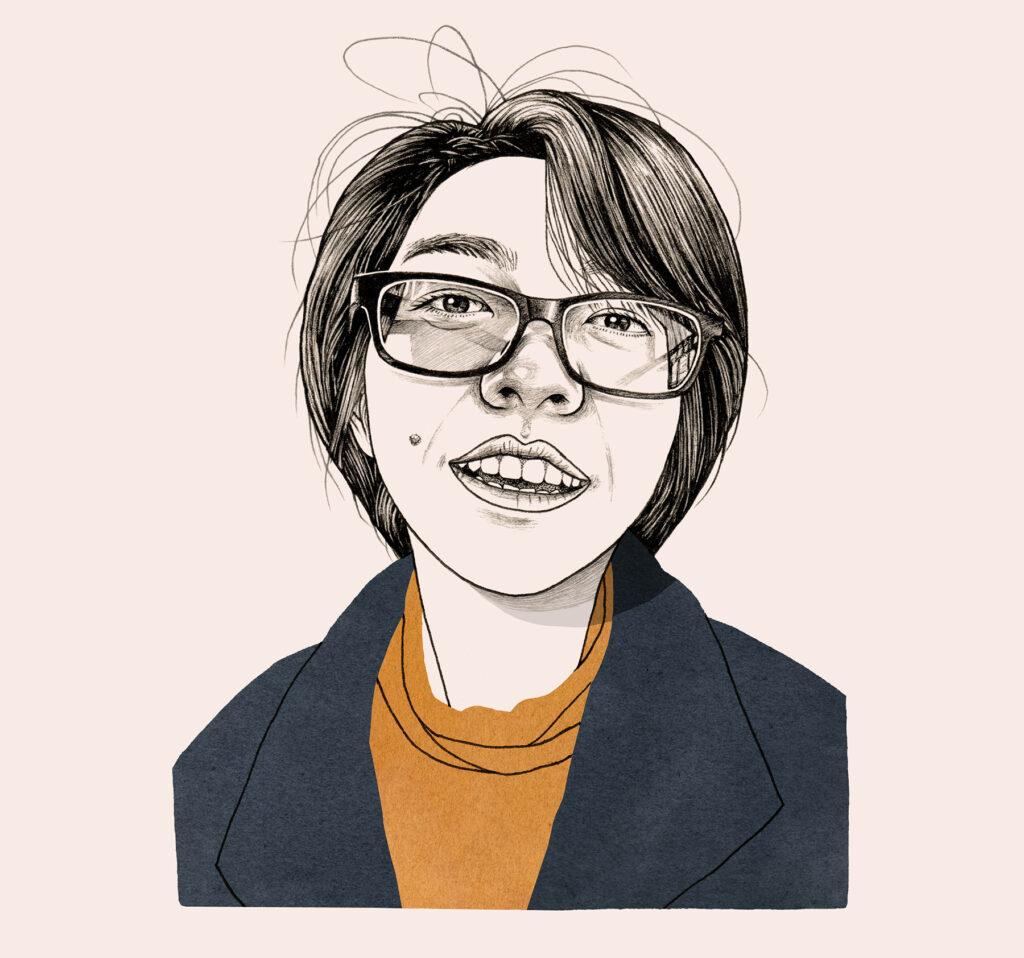 "A colored portrait illustration of Vy "" Evelyn"" Nguyen"