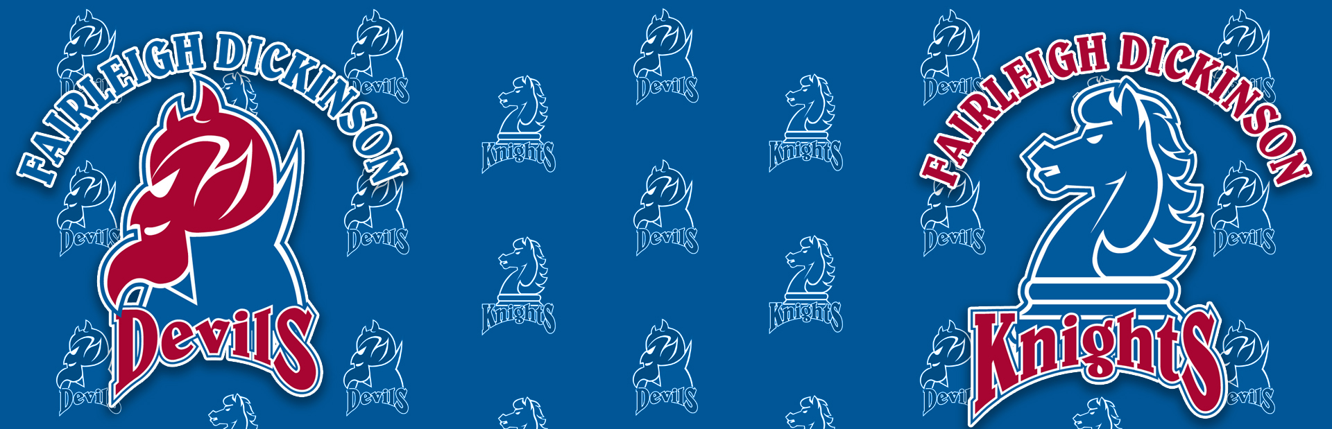 The FDU Devils logo and the FDU Knights logo. With a backdrop of smaller logos.