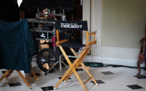 """Director chair reads """"Trial of the Chicago 7"""""""