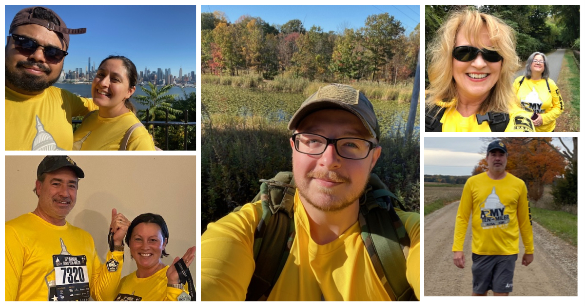 Photo collage of FDU SVA members participating in the virtual Army ten-miler race