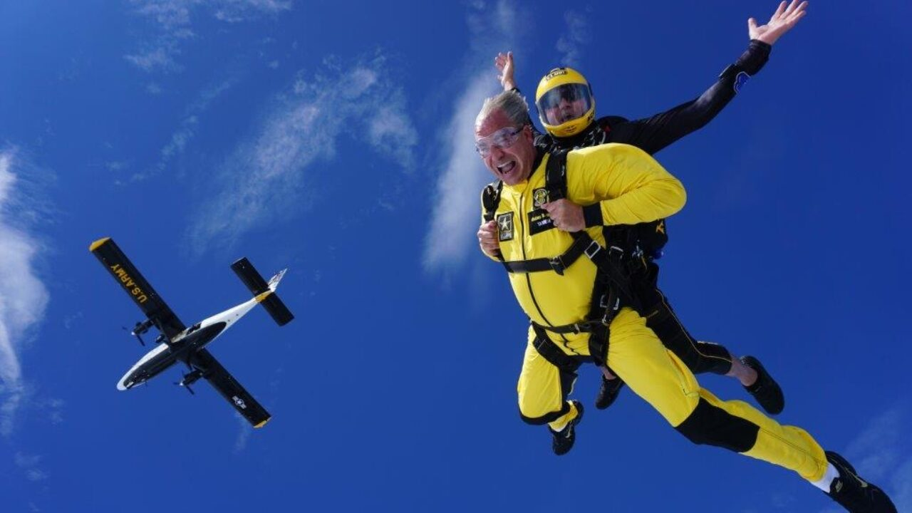 Luke Schultheis skydiving
