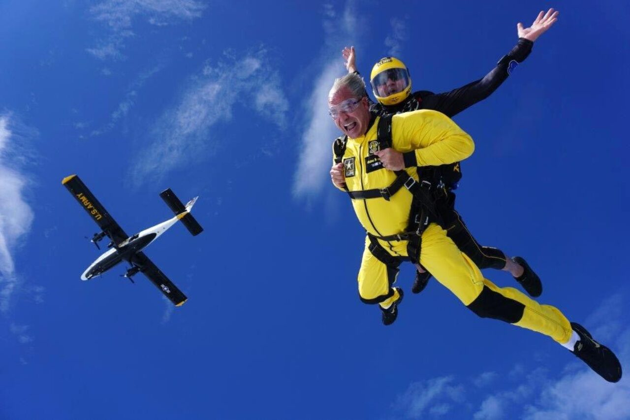 Luke Schultheis sky dives with the Army Golden Knights