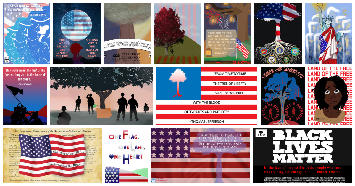A collage of submissions for the Patriotic Art Contest